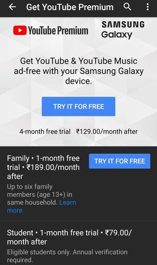 Upto 4 months free Youtube premium with a Samsung galaxy phone