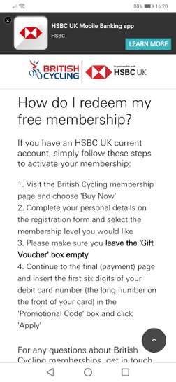 Free British Cycling Membership for HSBC current account holders
