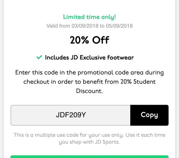 0084d4942497 UNIDAYS 20% off JD sport - Full price items only - hotukdeals