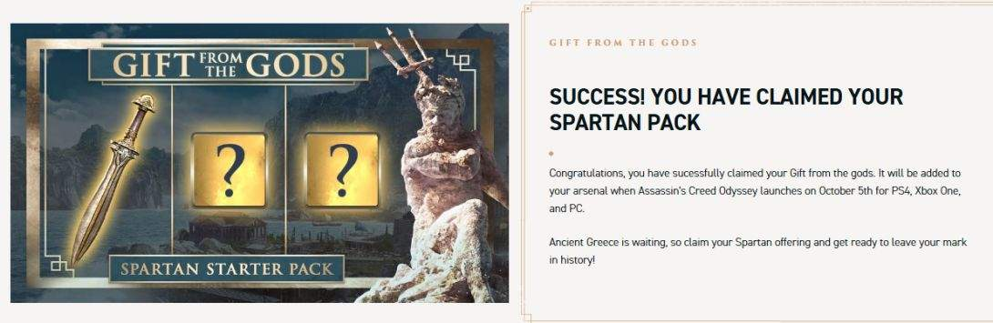 Free spartan DLC pack for Assassin's Creed Odyssey ( Which