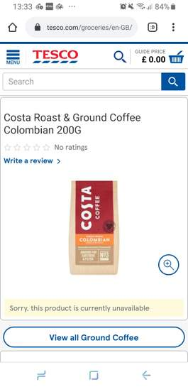 Tesco 1 Off Costa Single Origin Colombia Character Roast