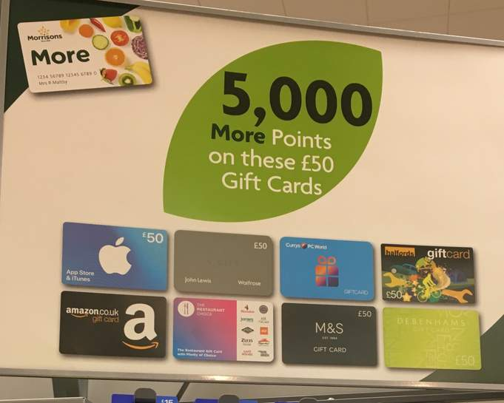 6 250 morrisons more points on 50 gift card purchases. Black Bedroom Furniture Sets. Home Design Ideas