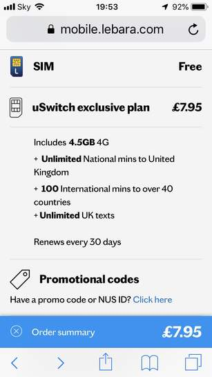 Lebara SIM-Only 1-Month Rolling Deal - £7 95pm - 4 5gb Data