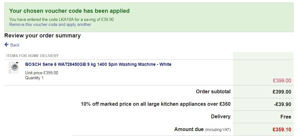 BOSCH Serie 6 WAT28450GB 9 kg 1400 Spin Washing Machine - White £351