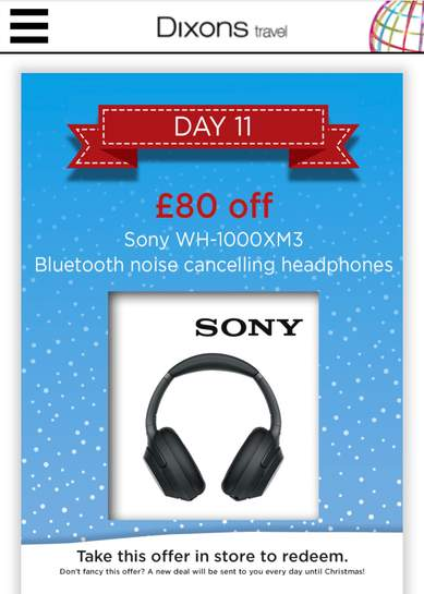Sony WH-1000X M3 at Dixons travel  £219 99 for today only