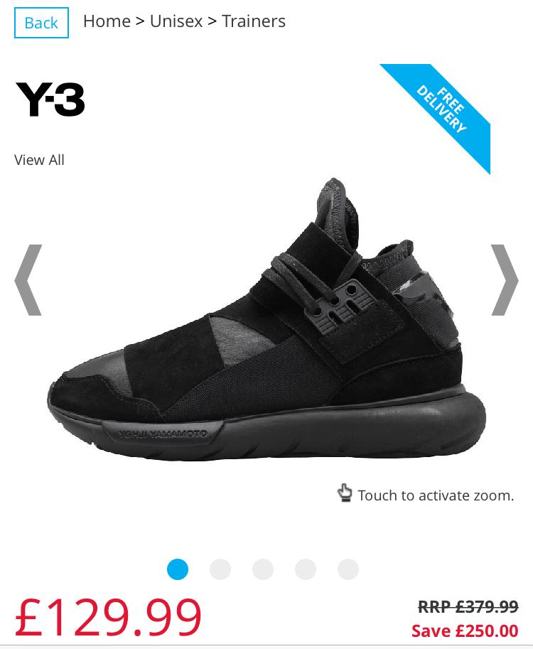 50fcff4035b40 Adidas Y-3 Mens Qasa High Hi Top trainers size 7