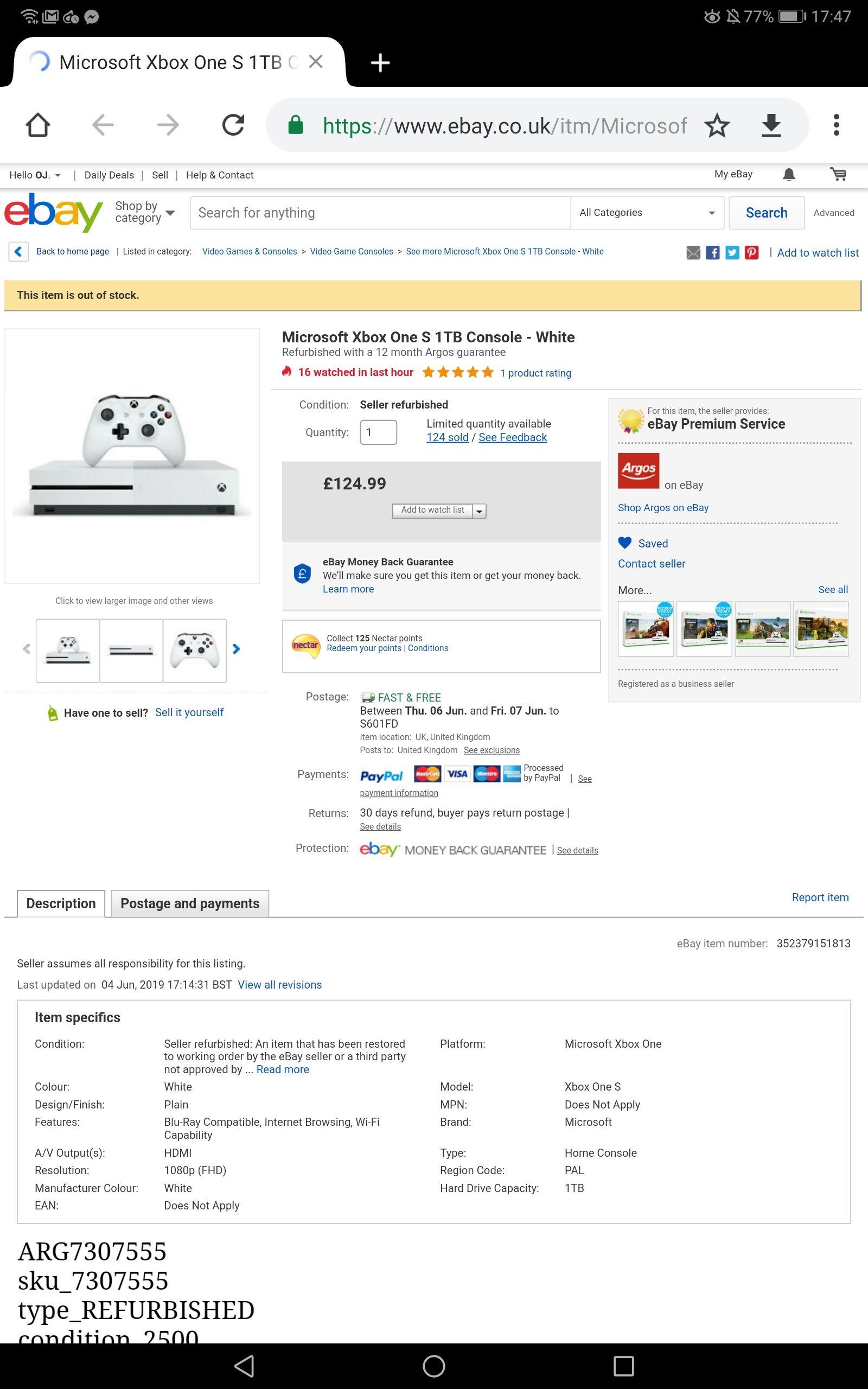 Refurb (12 months warranty) Microsoft Xbox One S 1TB Console