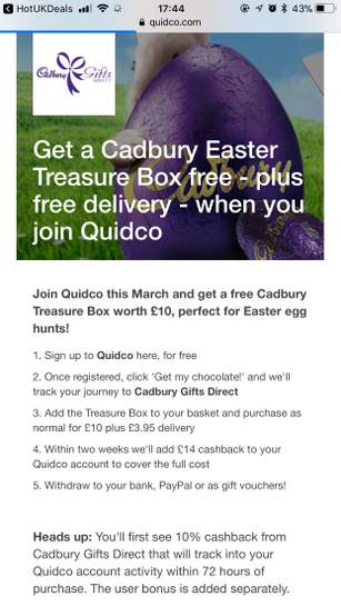 Free cadbury easter treasure box worth 10 quidco new members 33532162 tevmlg negle Choice Image