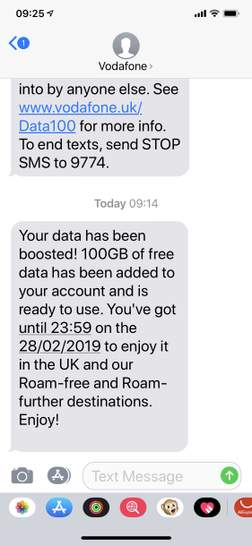 Vodafone free 100gb data for 1 month (see description - possibly