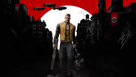 wolfenstein 2 banner showing blazkowicz with a gun and equipment in hands