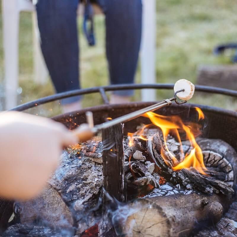Roasting marshmallows above wood