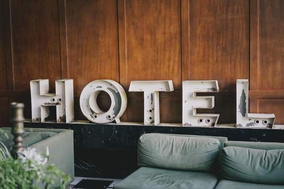 hotel letters as decoration in a room