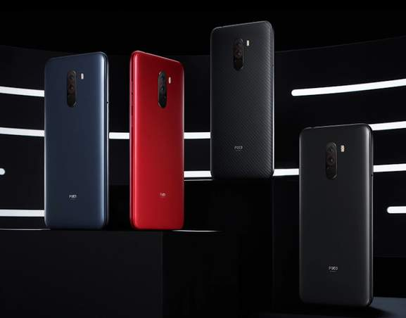 4 Pocophones colours: Graphite Black, Steel Blue, Rosso Red, and Armoured Kevlar