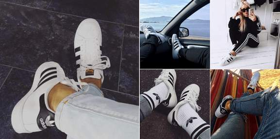 adidas originals fashion trainers worn in different arrangements such as in car in lying in a hammock or on the street