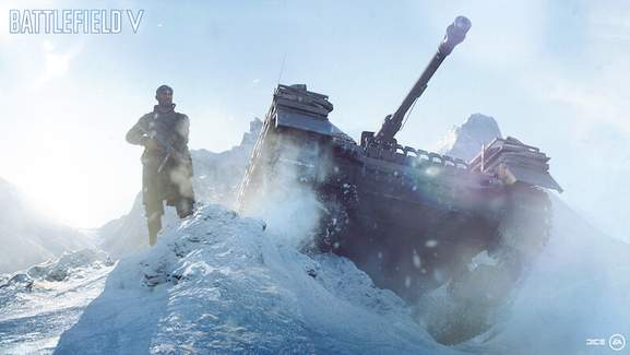 Battlefield 5 soldier and tank in snowy conditions
