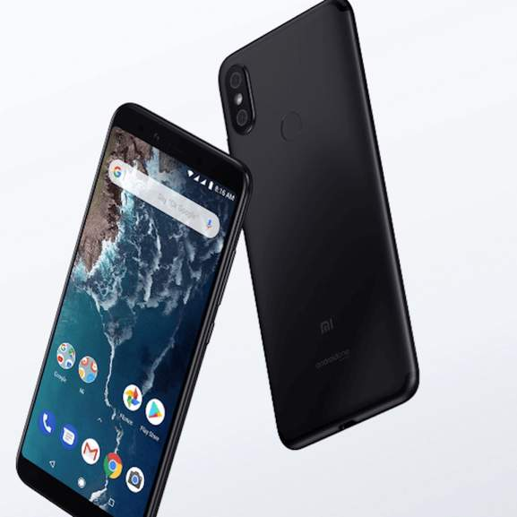 Xiaomi Mi A2 in black front and back