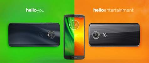 Moto G6 play with green and orange background