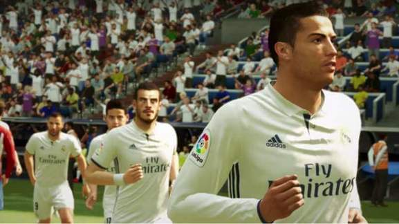 real madrid with ronaldo at the front in a football stadium