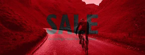sale mountain biker in red background