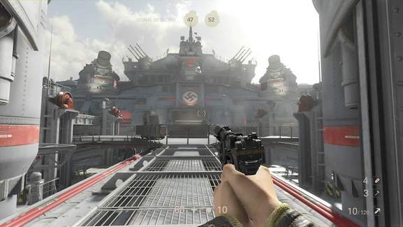 wolfenstein ii gameplay screen showing a character in ego perspective walking up to a nazi battleshp pointing a gun