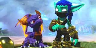 Skylanders a purple dragon and a green goblin standing next to each other