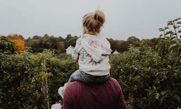 child sitting on the shoulders of a man in the middle of several apple trees