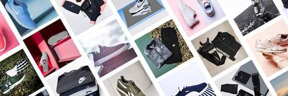 sports direct banner showing sneakers and clothing