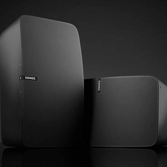 Two black Sonos Play:5s