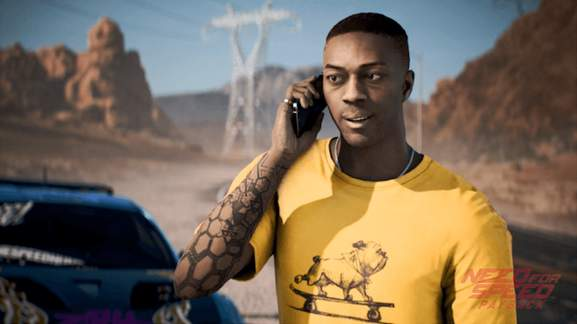 "Need for Speed Payback character Sean ""Mac"" McAlister beside blue car"