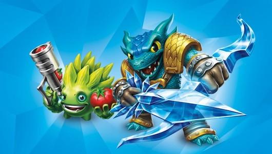 skylanders characters in blue background