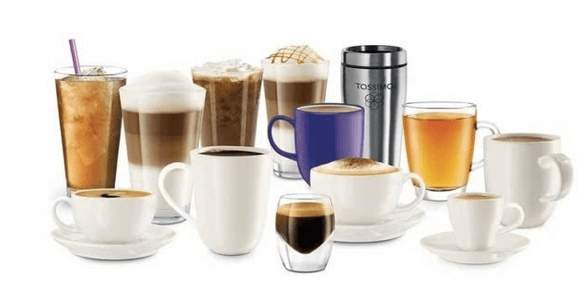 coffee in different variants and mugs or glasses