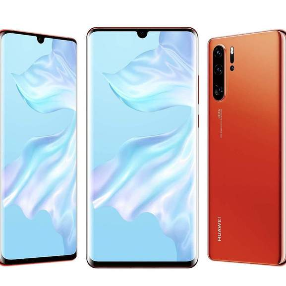 Huawei P30 in Red, front screen, back and side on view