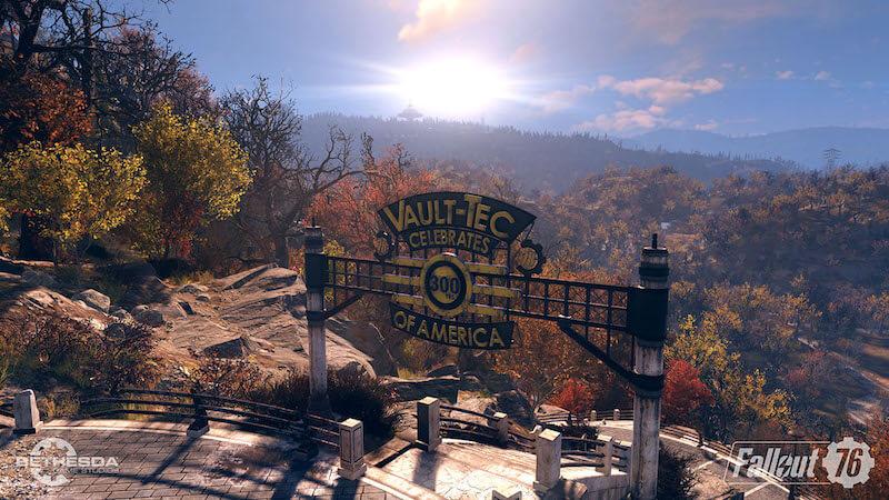 Fallout 76 a Vault-Tec sign