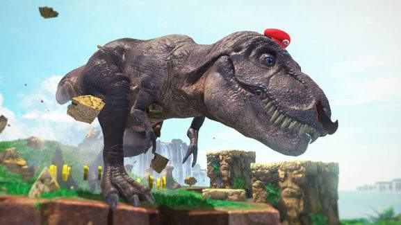 cappy is taking over a t-rex