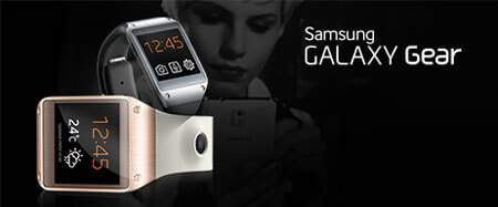 Samsung Galaxy Gear Smartwatches with black background