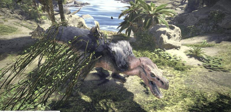 computer animated dinosaur walking through a primeval landscape
