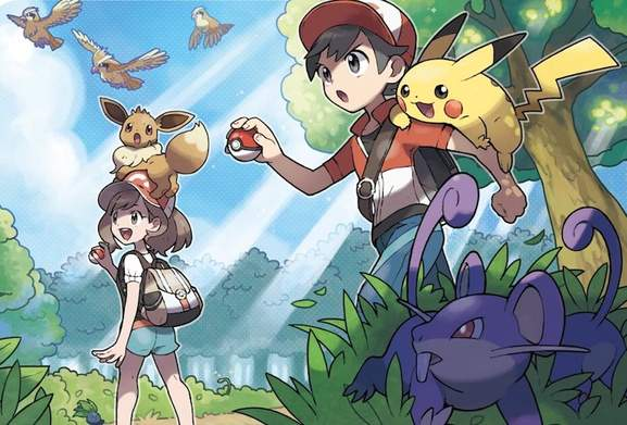 Pokemon: Let's Go players holding pokeballs with Pikachu and Eevee