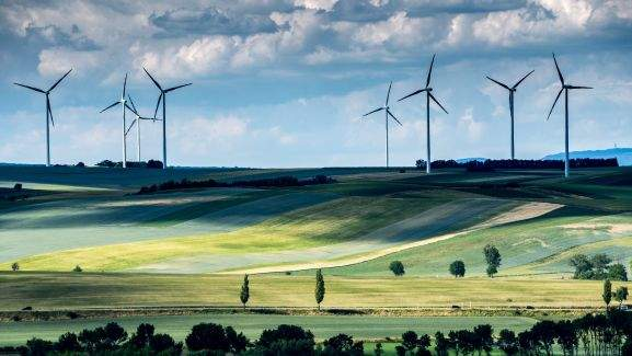 wind wheels in a green landscape