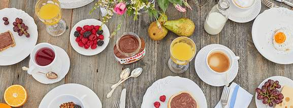 breakfast table with nutella
