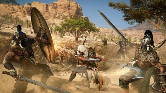 assassins creed origins combat battle ezio fighting with two enemies
