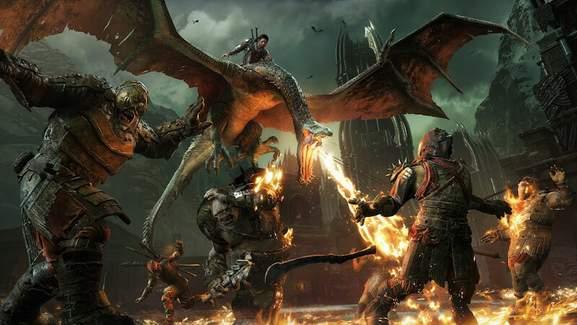 talion attacks orcs while riding on a nazgul