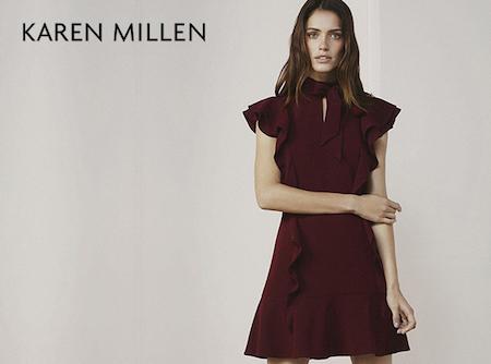 Karen Millen a girl wearing a dark rose coloured dress