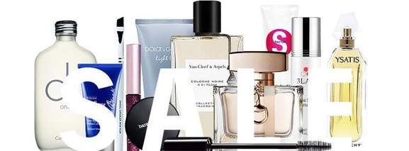 escentual sale banner with beauty products in the background
