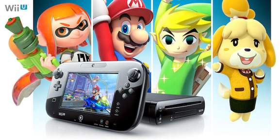 nintendo wii u console in black along with famous characters from the games like mario and zelda