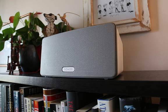 sonos play 3 on a sideboard in a living room setup