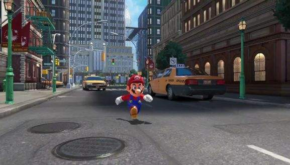 super mario running around in new donk city