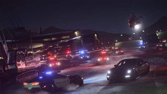 Need for Speed car being chased by police and military helicopter