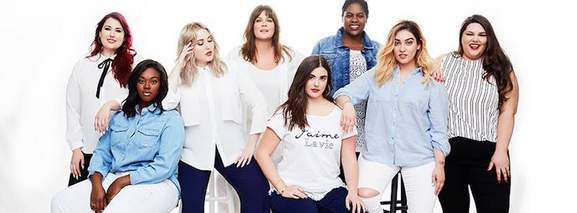 multiple plus sized models wearing evans lastest denim and while apparel