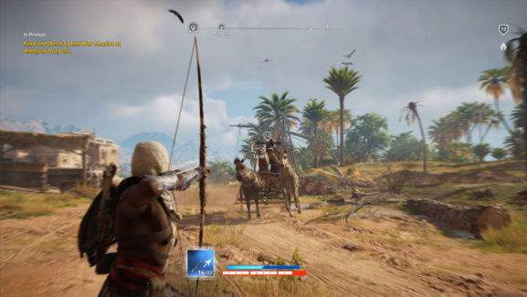 gameplay screenshot showing bayek with bow shooting at a chariot