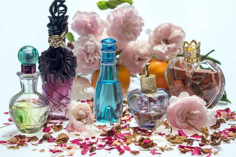 still life of perfume flacons